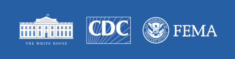 Logos for the White House, CDC, and FEMA